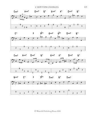 jazz bass tab basstab.net constructing walking jazz bass lines book II rhythm changes in 12 keys bass tab edition ex 7