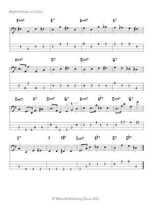 jazz bass tab basstab.net constructing walking jazz bass lines book II rhythm changes in 12 keys bass tab edition ex8